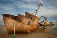 Abandonned boats in the Nouadhibou beach, Mauritania
